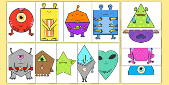 2D Shape Aliens Display Cut Outs - 2d shape, aliens, display, cut outs