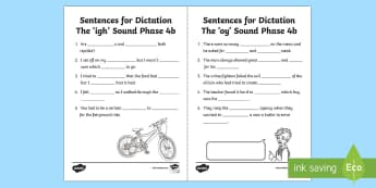 Northern Ireland Linguistic Phonics Stage 5 and 6, Phase 4b 'igh' and 'oy' Dictation Sentences Activity Sheets  - NI, missing word, cloze, words, 'igh', 'oy', sounds, phonics