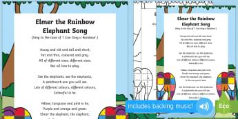Elmer the Rainbow Elephant Song - Elmer, David McKee, colour, patchwork, elephant, wilbur, song, singing, songtime