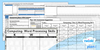 Microsoft Word Skills: Assessment - Year 3 Computing Lesson Pack