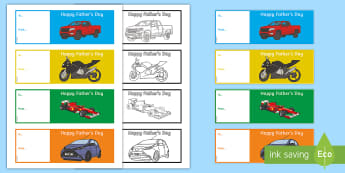 Father's Day Car Bookmarks - Fathers' Day, dad, grandad, father, bookmark, colouring, drawing, greeting card,Irish