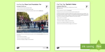 Car-Free Day GCSE French Foundation Tier Photo-Card Activity Sheet-French - Speaking, Photo, Environment, traffic, Pollution, GCSE, Global Issues,  Year 10, Year 11, ,French