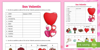 Valentine's Day Word Scramble Activity Sheets - Valentines Day, 14th February, vocabulary, scramble, word, activity, sheet