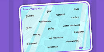 Forces Word Mat - word mat, mat, vocabulary, forces, science