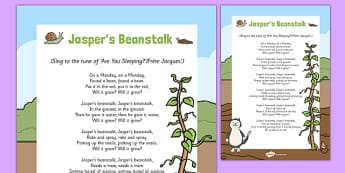 Rhyme to Support Teaching on Jasper's Beanstalk - EYFS, Early Years, Jasper's Beanstalk, Mick Inkpen, Nick Butterworth, C&L, Communication and Language, song, plants and growth