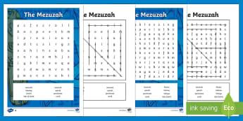 The Mezuzah Word Search - RE, KS2,  Mezuzah, word search, Judaism, Jew, Jewish, door,