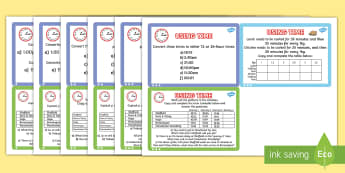 Using Time Maths Differentiated Challenge Cards English/Romanian - Using Time Maths Challenge Cards - time, clocks, maths, numeracy, challange, numracy, Timw, matsh,Ro