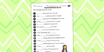 Using Personal Pronouns She or Her Worksheet - personal, pronouns