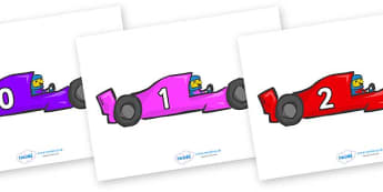 Numbers 0-100 on Racing Cars - 0-100, foundation stage numeracy, Number recognition, Number flashcards, counting, number frieze, Display numbers, number posters