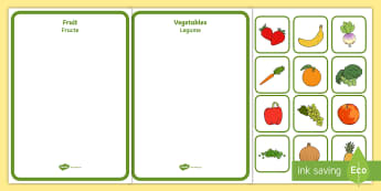 Fruit and Vegetables Sorting Activity Romanian/English  - farm, fruit, vegetables, sorting, sort, healthy eating, worksheet, activity, EAL