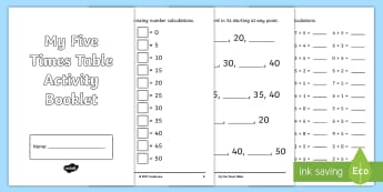 Five Times Table Activity Booklet - CfE Multiplication Workbooks, Five, Times Tables, Multiplication, Five Times Table, MNU 1-03a, 5x ta