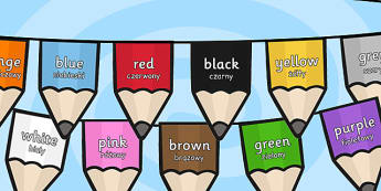 Colours on Pencil Bunting Polish Translation - polish, colours, pencil, bunting