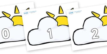 Numbers 0-31 on Weather Symbols (Cloud & Sun) - 0-31, foundation stage numeracy, Number recognition, Number flashcards, counting, number frieze, Display numbers, number posters