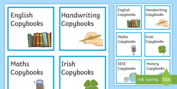 Copybook Labels Signs and Labels - ROI Back to School Resources, back to school, September, copies, copybooks, copy, labels, classroom
