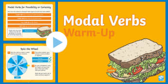 Year 5 Modal Verbs Warm-Up PowerPoint - possibility, certainty, commands, ability, quick quiz