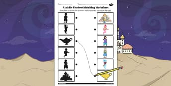 Aladdin Shadow Matching Worksheet - aladdin, shadow, matching