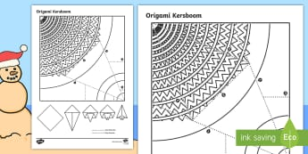 Eenvoudige Origami Kersboom Papier Kuns  - Desember, vier, maak, kreatief, knip, vou, tradisies