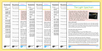 Y6 Science The Light Spectrum Differentiated Reading Comprehension Activity - refraction, visible, spectrum, prism, red, violet, yellow, orange, green, blue, indigo, Y6, KS2, comprehension, Year 6, reading, science, light