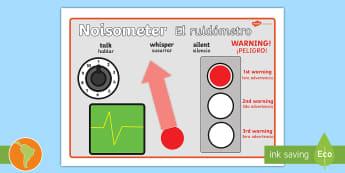 The Noisometer US English/Spanish (Latin) - Noise, level of noise, behaviour management, inside voices, quiet, class management, noise ometre, n