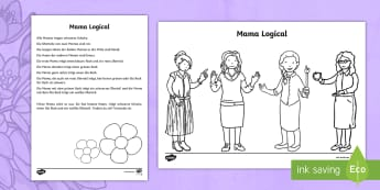 Meine Mama Logical Arbeitsblatt: Lesen und Malen - Muttertag, malen, Rätsel, logical, mother's day, coloring, riddle,German