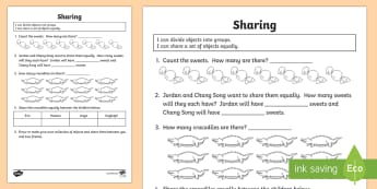 I Can Divide Objects into Equal Groups Activity Sheet - Divide, share, objects, groups, equally, set, division, groups of, share equally, worksheet, Austral