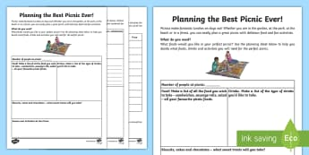 Planning the Best Picnic Ever Activity Sheet - sandwich, outdoor, family, food, recipe template