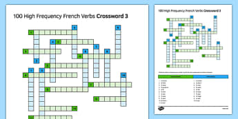100 High Frequency French Verbs Crossword 3 - French