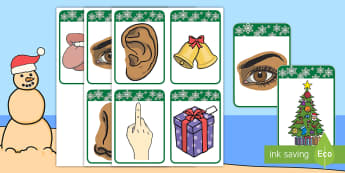 Five Senses Christmas Matching Cards English/Afrikaans - December, gifts, pairs, celebration, Desember, pare, EAL