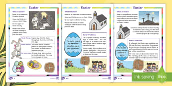 Easter Differentiated Fact File - KS1, Easter, Year 1, Year 2, Key Stage One, Year One, Year Two, Easter Story, Jesus, Cross, Last Sup