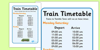 Train Station Timetables - ESL Train Station Resources