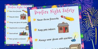 Bonfire Night Poster - Bonfire safety, Fireworks Night safety, fire safety, Display Words, display, Guy, Autumn, A4, display, firework, bang, crackle, woosh, rocket, sparkler, catherine wheel, screech, whirl, fire, bonfire, leaves