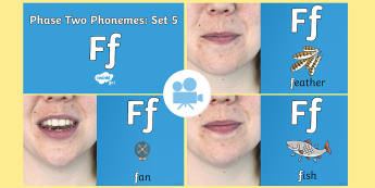 Phase Two Phonemes: Set 5: 'f' Video - Phonics, Letters and Sounds, Grapheme, pronunciation, i,n,m,d