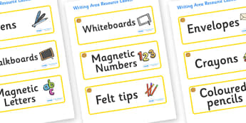 Marigold Themed Editable Writing Area Resource Labels - Themed writing resource labels, literacy area labels, writing area resources, Label template, Resource Label, Name Labels, Editable Labels, Drawer Labels, KS1 Labels, Foundation Labels, Foundati