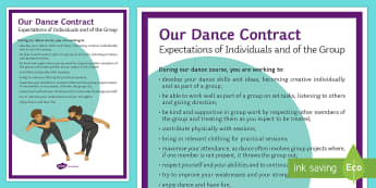 Our Dance Contract A4 Display Poster -  Toolbox,  lesson contract,  expectations