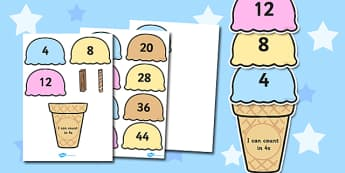 Counting in 4s Ice Cream Activity - maths, numeracy, count, on, add, lots of, numbers, sequence, pattern, work, sheet, fun, game, four, fours, times table, multiplication