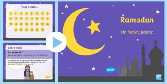 Calendarul actelor de bunătate pe durata Ramadanului PowerPoint - ramandan, acte de bunătate, română, islam, musulmani, islamism, sărbători, religii din lume, re