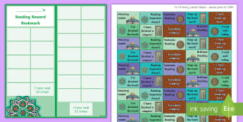 KS2 Islamic Art Themed Reading Sticker Reward Bookmarks - Y6, UKS2, Home Readers, Reading Log, Stickers, Motivation