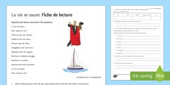 La vie se sauve : Fiche de lecture - french, Literature, littérature, lecture, reading