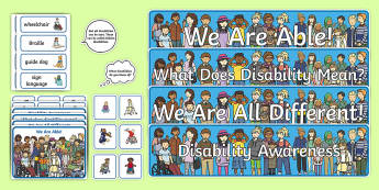 Disability Display Pack - able, different, Braille, hearing aid, wheelchair,