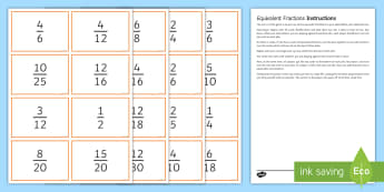 Equivalent Fraction Race Top Card Game - SEO Maths Resource, fractions, equivalent, denominator, numerator, game, reflexes, quick-thinking, r