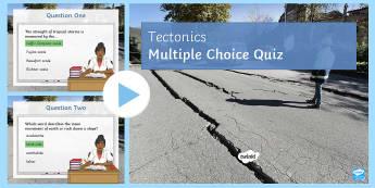 Tectonics Quiz 2 PowerPoint - The Challenge of Natural Hazards AQA GCSE