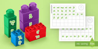 Phase 4 Phonics Blends and Clusters Matching Connecting Bricks Game - EYFS, Early years, KS1, Literacy, phonics, letters and sounds, phase 4, word building reading, lette