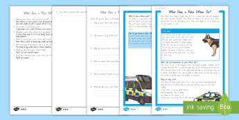 What Does a Police Officer Do? Differentiated Reading Comprehension Activity  - People Who Help Us, heroes, community, New Zealand, Years 1-3, jobs, social sciences, reading, compr