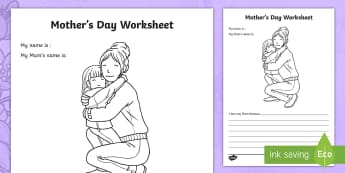 Mother's Day Worksheet - worksheets, worksheet, work sheet, mothers day, mother's day, mothers day sheet, I love my mum because, me and my mum, sheets, activity, writing frame, filling in, writing activity