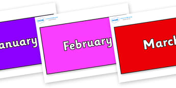 Months of the Year on Rectangles - Months of the Year, Months poster, Months display, display, poster, frieze, Months, month, January, February, March, April, May, June, July, August, September