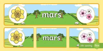Banderole d'affichage: Mars - Les mois de l'année - mars, March, banderole, banner, display, panneau d'affichage, mois, months, year, année, cycle 1,