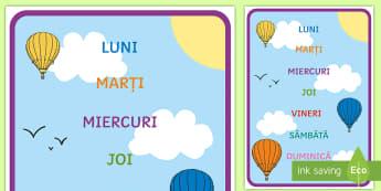 Zilele săptămânii Planșă  - decorul grupei, vocabular cheie, timp, orientare în timp, unități de măsură,Romanian