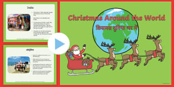 Christmas Around The World PowerPoint English/Hindi -  World, information, discussion starter, class discussion, nations, tradition, EAL
