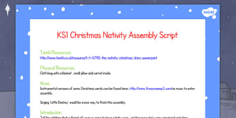 Christmas The Nativity Assembly Script KS1 - christmas, nativity