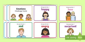 Emotions Drama Challenge Cards  - CfE Drama, emotions, EXA 1-13a, EXA 1-15a, ,Scottish,Emotions, Drama, acting, feelings, happy, sad,